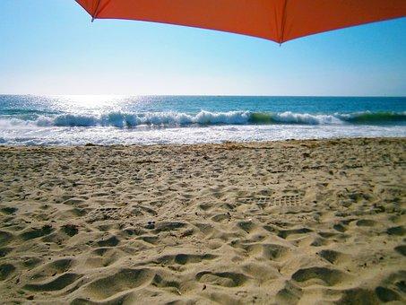 Beach, Parasol, Sand, Sea, Losangeles, Nature, La
