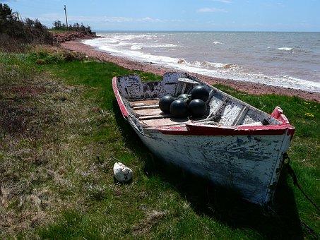 Old Fishing Boat, Beach, Shoreline