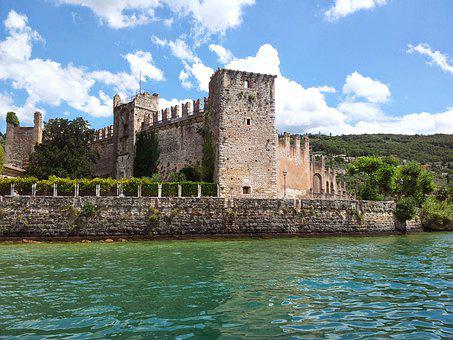 Lake Garda, Italy, Village, Boat, Castle, Port, Summer