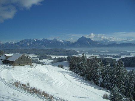 Alpe Beichelstein, Mountain Panorama, Säuling, Snow