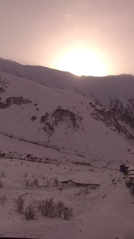 Sunrise, Snow, Mountains, Winter, Sun, South Ossetia