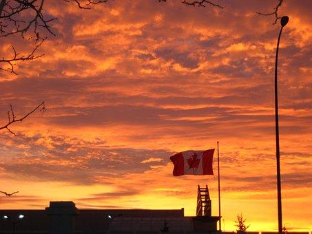 Canada, Flag, Sunset, Sky, Landscapes, Twilight, Cloud
