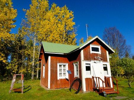 Finland, Mökki, Home, Autumn, Trees, Idyll, Simply