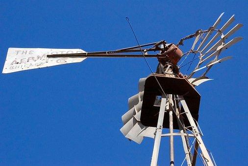 Windmill, Aermotor, Old Windmill, Blue, Sky, New Mexico
