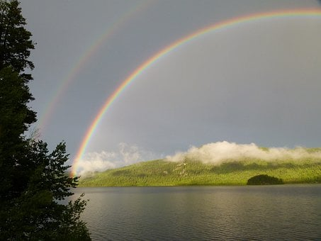 Double, Rainbow, Thunderstorm, Canim Lake