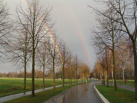 Regenboge, Double, Rainbow, Color, Colorful, Rain, Road
