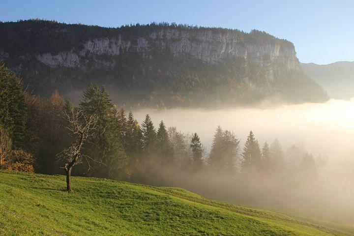 Mountains, Sun, Rest, Clouds, Fog, Switzerland, Yberegg