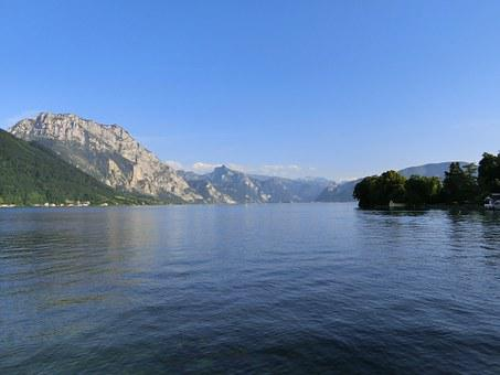 Traunsee, Lake, Water, Landscape, Mountains, Rest