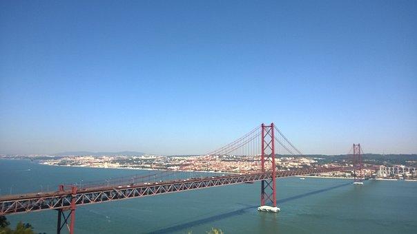 Bridge, Bridge April 25, Lisbon, Water, Great, Big City