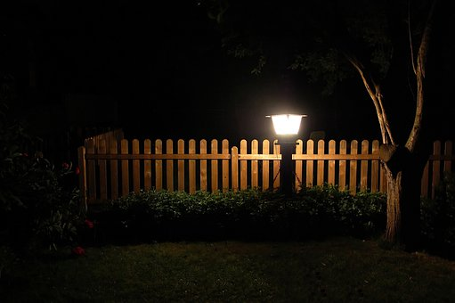 Garden, Lantern, Fence, Meadow, At Night, Tree