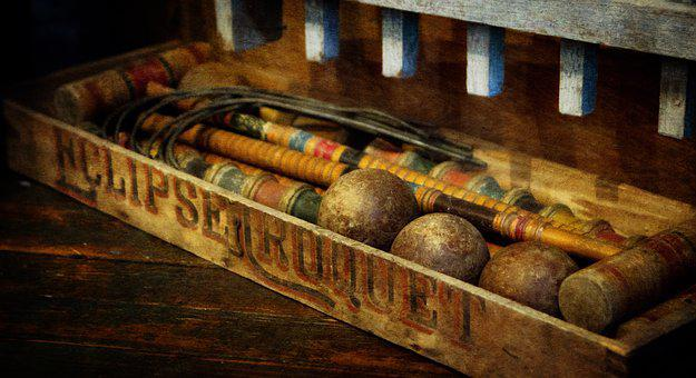 Antique, Croquet, Vintage, Game, Wooden, Brown, Ball