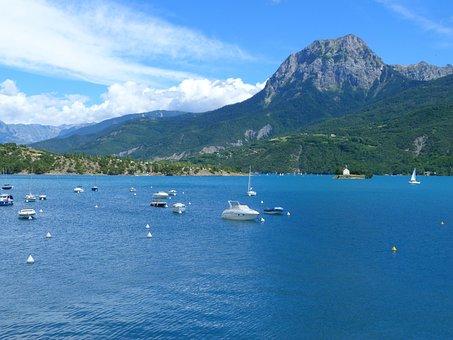 Lake Of Serre Ponçon, Lake, Landscape, Nature, Summer