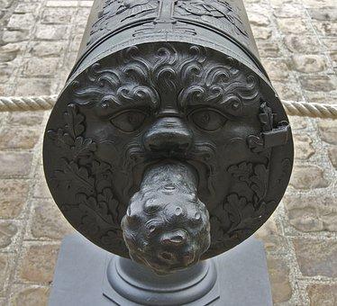 Gun, Cannon Knob, Bronze Cannon, 1730, Bronze, Metal