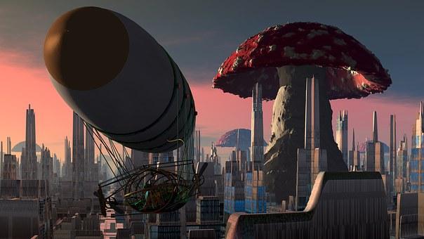 Airship, City, Mushroom, Steampunk, Fantasy, Skyscraper