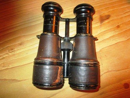 Binoculars, Old, Scuffed, Army Binoculars, Antique