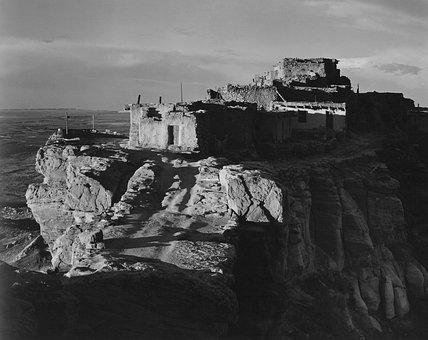 Walpi, Arizona, Black And White, Buildings, Old