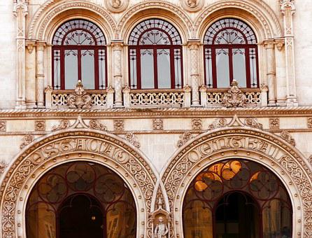 Station, Rossio, Lisbon, Facade, Archtecture