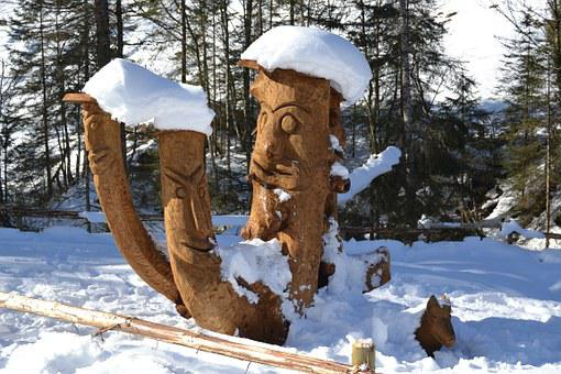 Aschau, Austria, Winter, Alpine, Sculpture, Wood, Snow