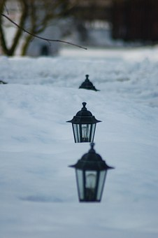 Lanterns In Deep Snow, Depth Of Field