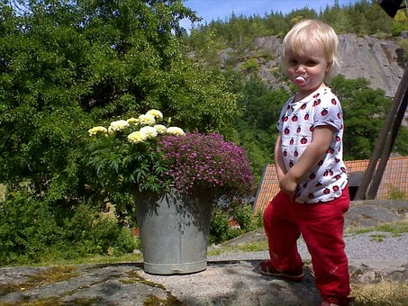Children, Flowers, Bucket