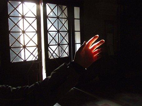 Szeged Hungary, Minorits Church, Light, Hand