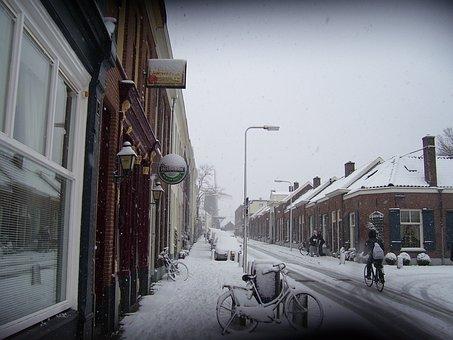Snow, Holland, Frozen, Cold, Outside, Street, Arnhem