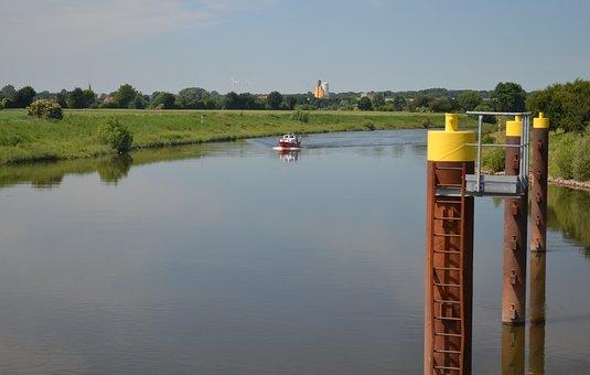 Weser, River, Water, Nature, Boat, Landscape