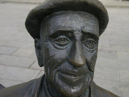 Face, Statue, Sculpture, Bronze, Orense, Spain, Male