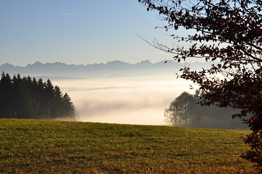 Deep Mist, Allgäu, Auerberg, Panorama, Mountains