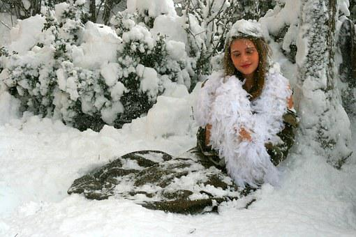 Girl, Snow, Winter, Princess, Feerie