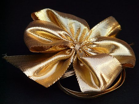 Loop, Gift Tape, Gift, Pack, Gold, Ornament, Decoration