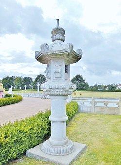 Sculpture, Pillar, Stone, China, Art, Lamp Holder, Park