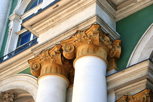 Palace, Turquoise And White, Gold, Decrative, Pillars