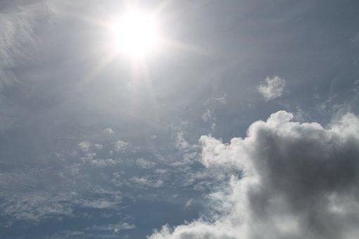Sun, Clouds, Sky, Blue, Nature, Sunburst, White, Light