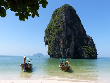 Boats, Spoke The Beach, Krabi, Thailand