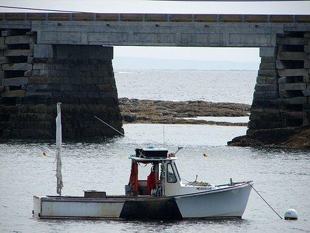 Cribstone, Bridge, Bailey, Island, Maine, Boat