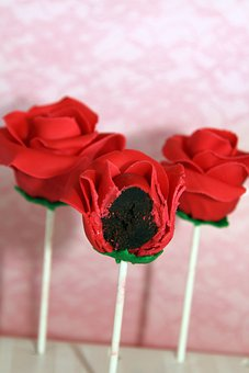 Cake Pops, Frosted, Dessert, Roses, Red, Chocolate