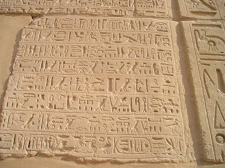 Egypt, Luxor, Karnak, Hieroglyphics, Wall, Font