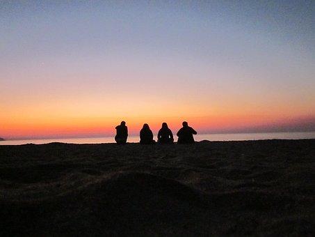 People, Resting, Silhouette, Lake, Sand, Malawi