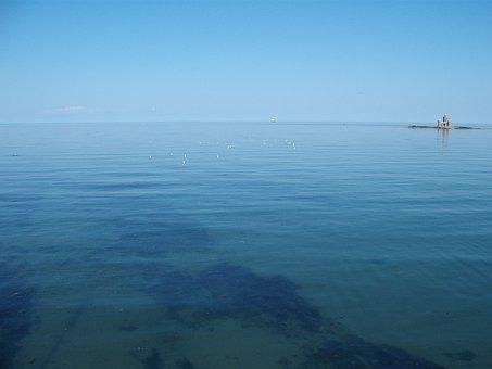 Seascape, Sea, Horizon, Blue, Water, Beach, Isle Of Man