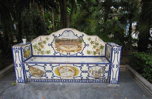 Spain, Marbella, Bank, Park, Porcelain, Park Bench