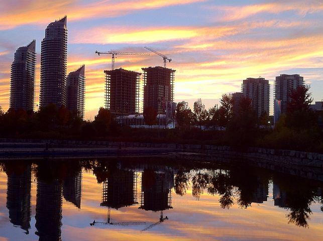 Toronto, Skyline, Skyscraper, Buildings, Sunset