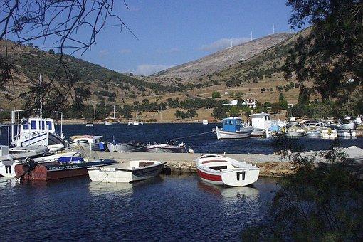 Greek, Harbor, Fishing, Boats, Water, Sea, Isle, Euboea