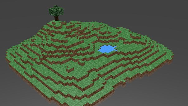 Minecraft, Island, Blender, 3d, 3d Graphics, Digital