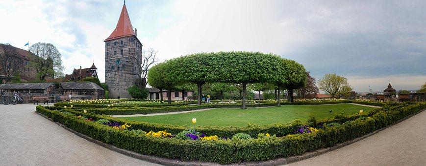Nuremberg, Castle, Burggarten, Tower, Burghof, Spring