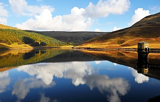 Dovestones, United Kingdom, Reservoir, Lake, Water