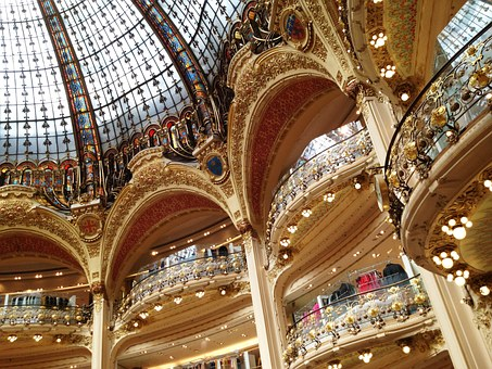 Shops, Dome, Stained Glass Windows, France, Interior