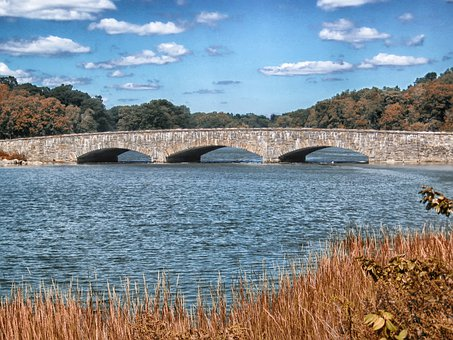 Darien, Connecticut, Bridge, Stone, Landscape, Scenic