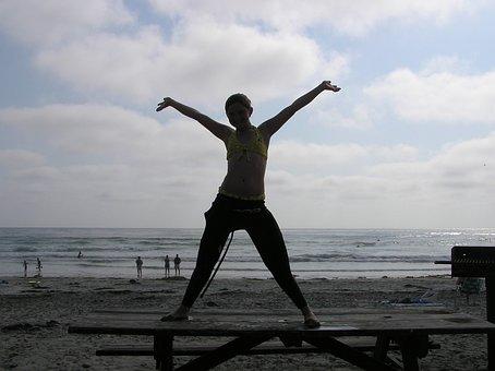 Happy, Girl, Ocean, Beach, Sky, Summer, Summer Sky