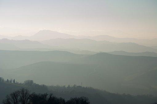 Landscape, Mountains, Mist, Fog, Turbid